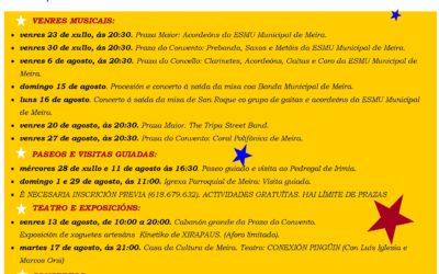 PROGRAMACIÓN DE ACTIVIDADES DE VERANO EN MEIRA EN JULIO Y AGOSTO